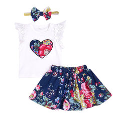 3Pcs Floral Girls Set For 0-24M