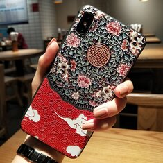 Retro Painted Relief Palace Flower TPU Phone Case