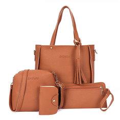 4 PCS Women PU Leather Handbag Leisure Crossbody Bag