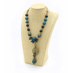 Ethnic Ceramic Beads Leaf Long Necklaces