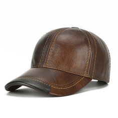 Mens Cowhide Leather Baseball Cap