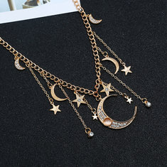 Retro Tassels Moon Star Necklace