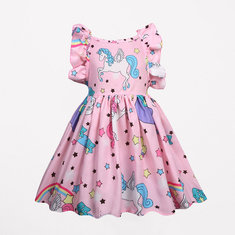 Cute Horse Print Girls Dress For 3Y-11Y