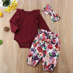 Floral Print Girls Romper Set For 0-24M