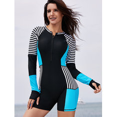Plus Size Striped Zip Front Slimming One Piece