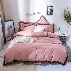 4Pcs  Solid Color Embroidery Lace Purfle Bedding Set