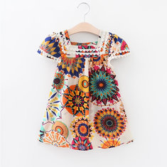 Bohemian Print Girls Casual Dress For 3-11Y