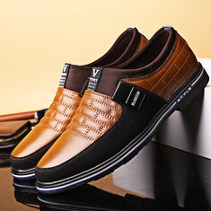 Men Leather Splicing Non-slip Soft Casual Shoes