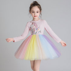 Girl's Rainbow Unicorns Dress