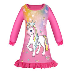 Girl's Unicorn Dress For 4-13Y