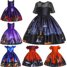 Multiple Styles Halloween Cartoon Print Dress