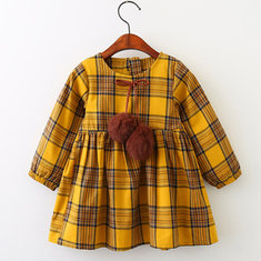 Girl's Pompon Plaid Dress For 3-11Y
