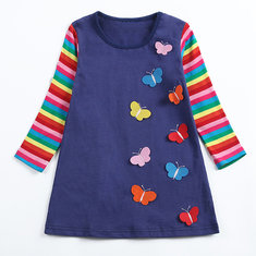 Girls Butterfly Casual Dress For 1-7Y