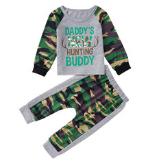 Boy's Letter Print Camouflage Set For 1-7Y