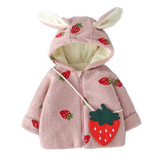 Girl's Strawberry Print Hooded Coats For 1-5Y