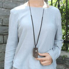 Handmade Wooden Geometric Pendant Necklace