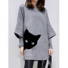 Cartoon Cat Print Dress