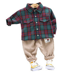 Plaid Shirt Corduroy Patch Pant Set For 1-5Y
