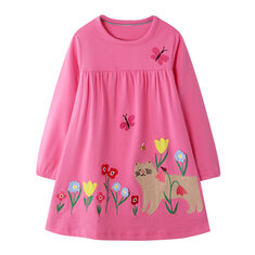 Girl's Flower Cartoon Dress For 1-9Y