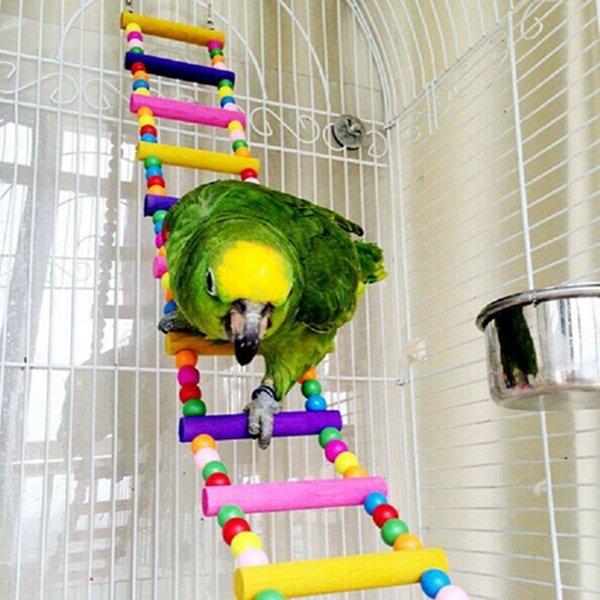 10 Schritte hölzernes Schwingen-flexibles Aufstieg-Strichleiter-kleine Haustier-bunte Vogel-Papagei-Spielwaren