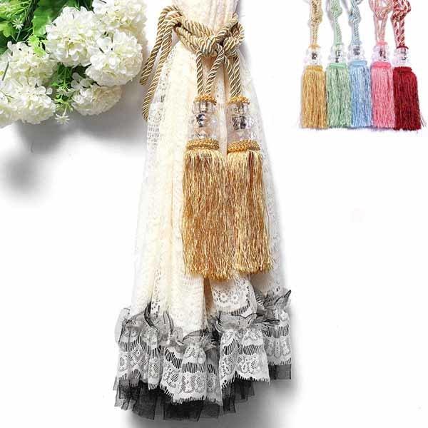 1 Pair Crystal Beaded Tassels Tieback Curtain Cord Home Windows Curtain Tie Backs Decor 6 Colors