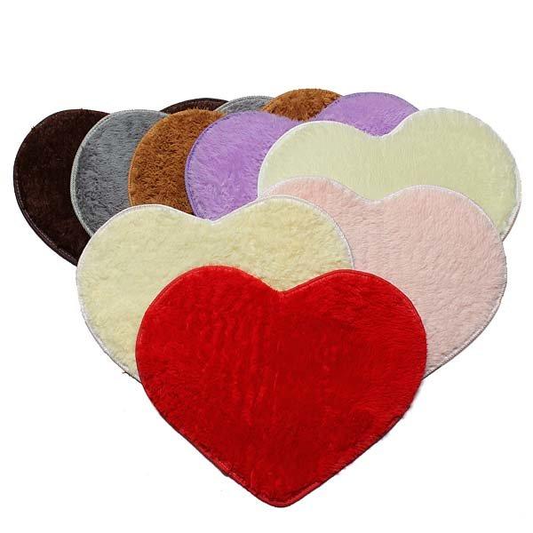 50x60cm Heart Shape Door Mat Bathroom Bedroom Floor Carpet