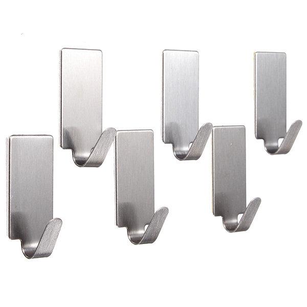 6Pcs स्टेनलेस स्टील चिपकने वाला कपड़े हैंगर हुक दीवार दरवाजा हुक बाथरूम तौलिया धारक