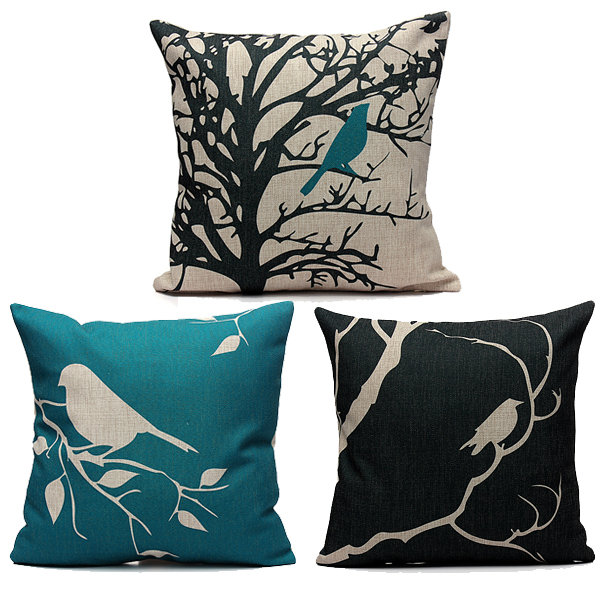 45X45cm Bird Vintage Linen Cotton Cushion Cover Sofa Home Decor Pillowcase