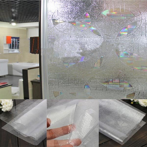 3D UV Absorber Frosted Bathroom Kitchen Window Stickers Vinyl Static Cling  Window Film
