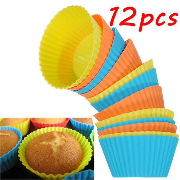 12Pcs सिलिकॉन केक मफिन चॉकलेट कप केक कप ढालना