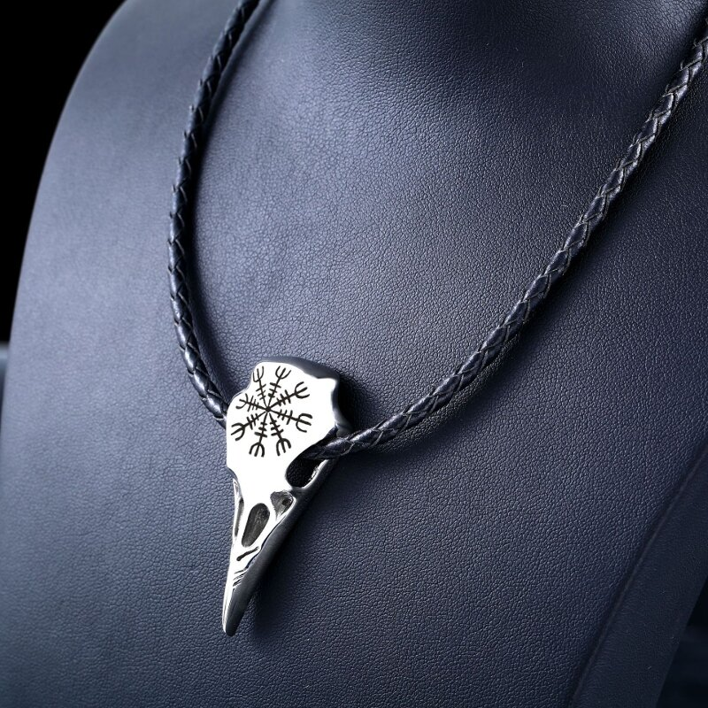Punk Viking Amulet Crow Skull Charm Necklace Genuine Leather Necklace for Men Women