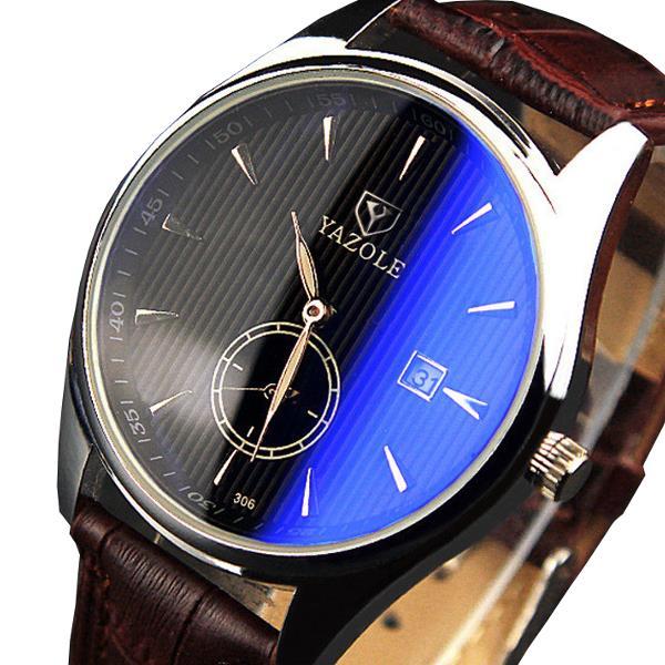 YAZOLE 306 Men Fashion Casual Luminous Hands Calendar Leather Quartz Mens Watches