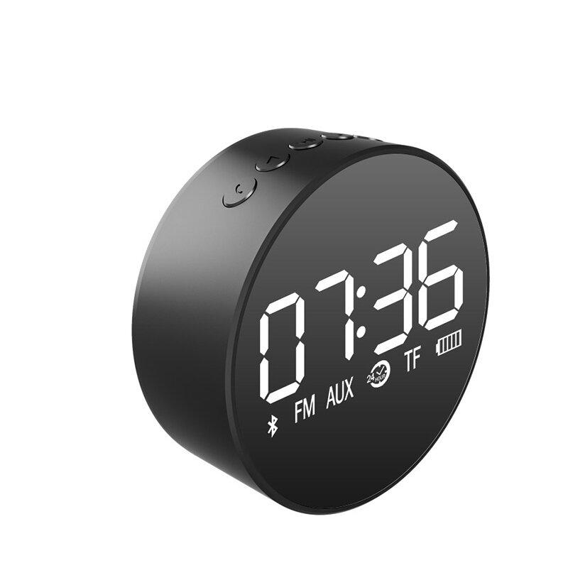 Loskii Portable TF Card AUX Playback Subwoofer Speaker FM Radio Clock Mirror Display Wireless Blueto
