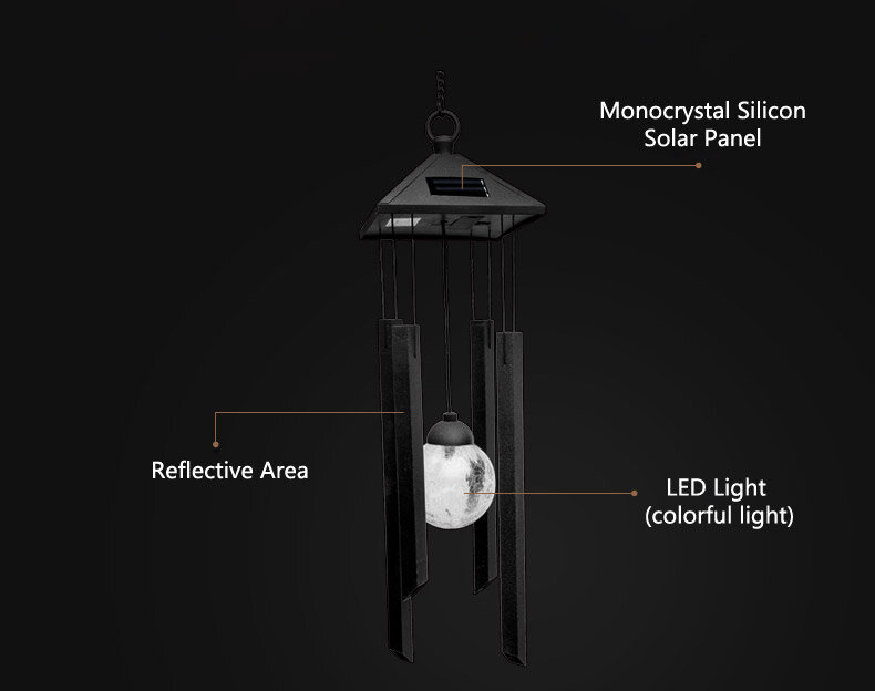 garden wind chime solar light colorful LED lamp