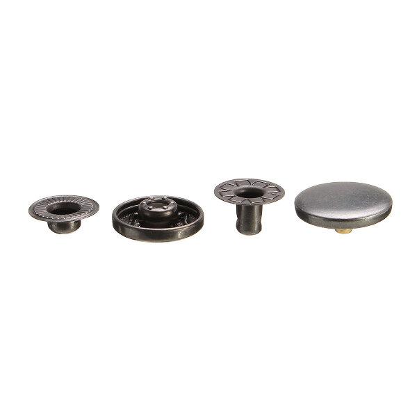 15Set 15mm Black Press Studs Snap Popper Fastener Sewing Leather Buttons DIY Craft Kit