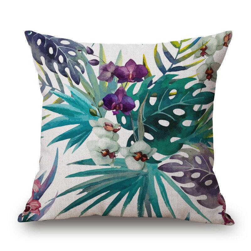 Dekorative Kissenbezug Mode Baumwolle Leinen Tropische Pflanze Blumen Gras Kissenbezug