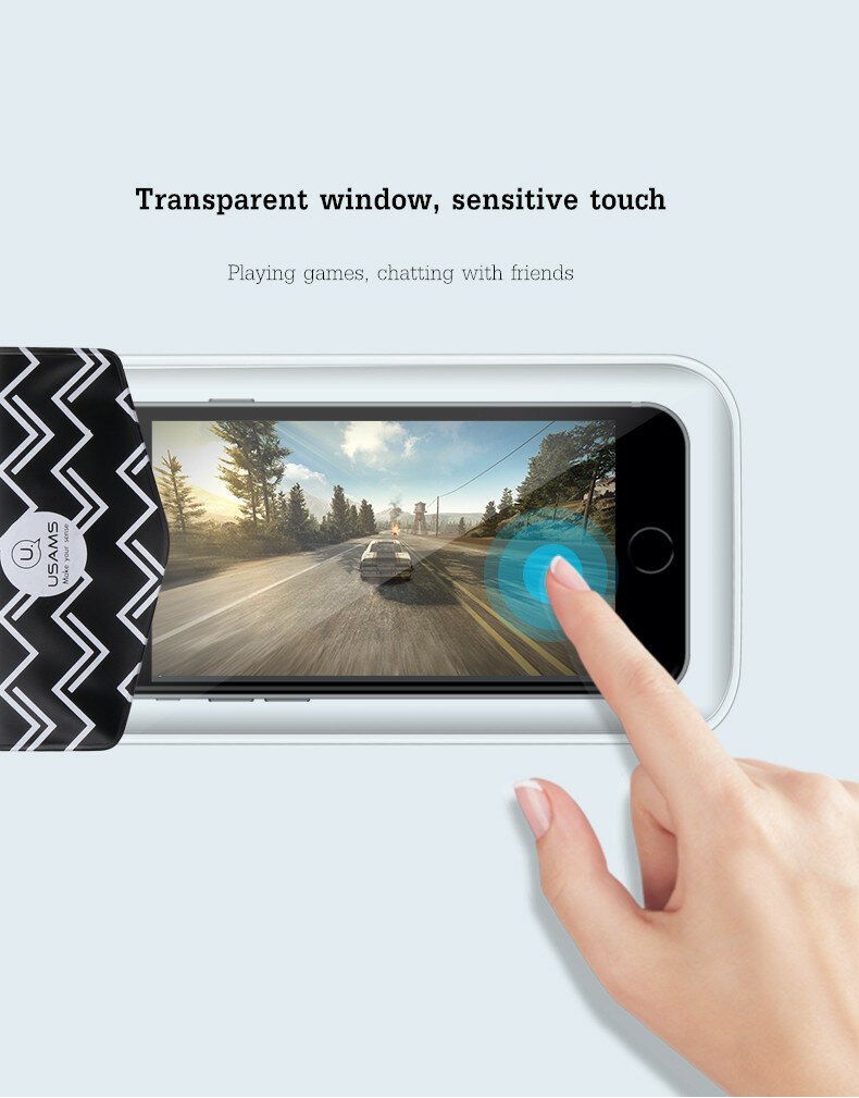 USAMS YD008 10m Underwater Waterproof Bag Screen Touch Phone Pouch For Smartphone Under 6-inch