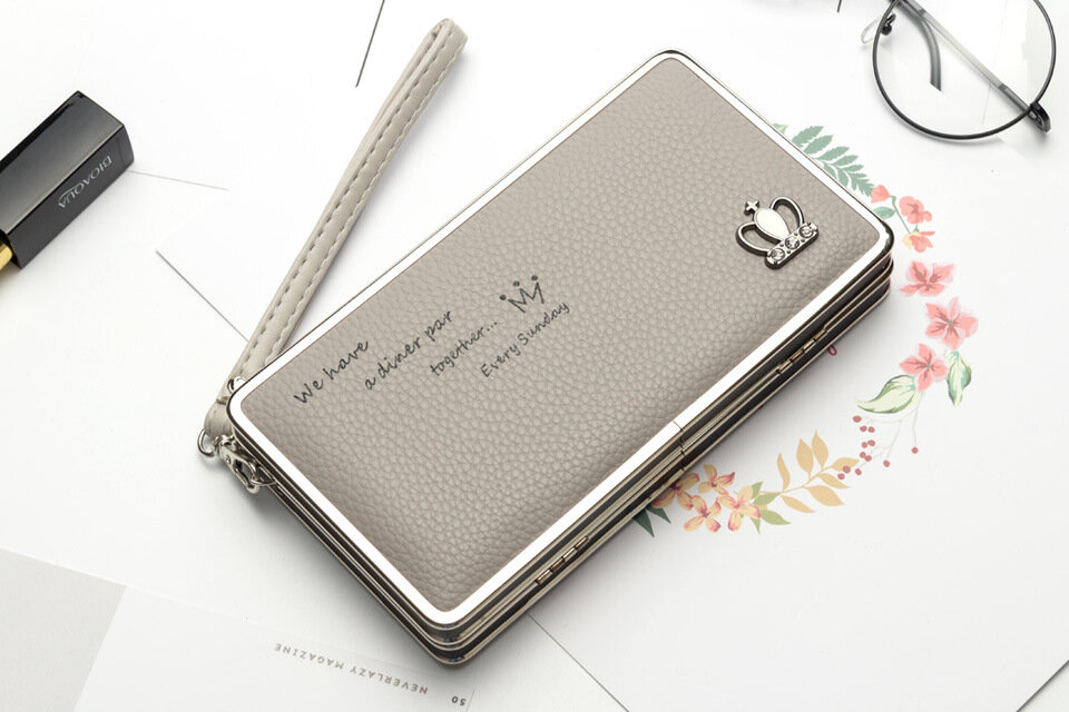 Universal 5.5-inch Women Phone PU Long Wallet Purse Handbag For Xiaomi Huawei Samsung iPhone 7