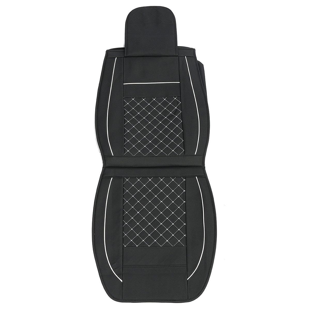 مجموعة واقي غطاء وسادة مقعد السيارة من الجلد الصناعي مكون من 7 قطع لـ 5 مقاعد سيارات أسود أبيض عالمي