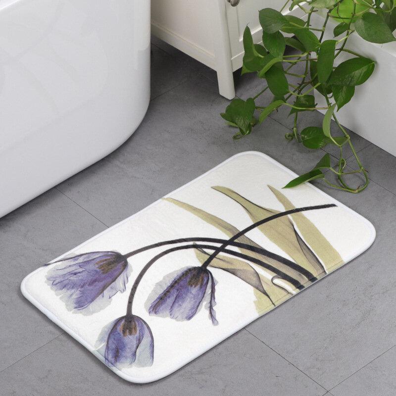Memory Foam Chronic Rebound Printing Lotus Absorbent Non-slip Mat Home Children's Room Floor Carpet