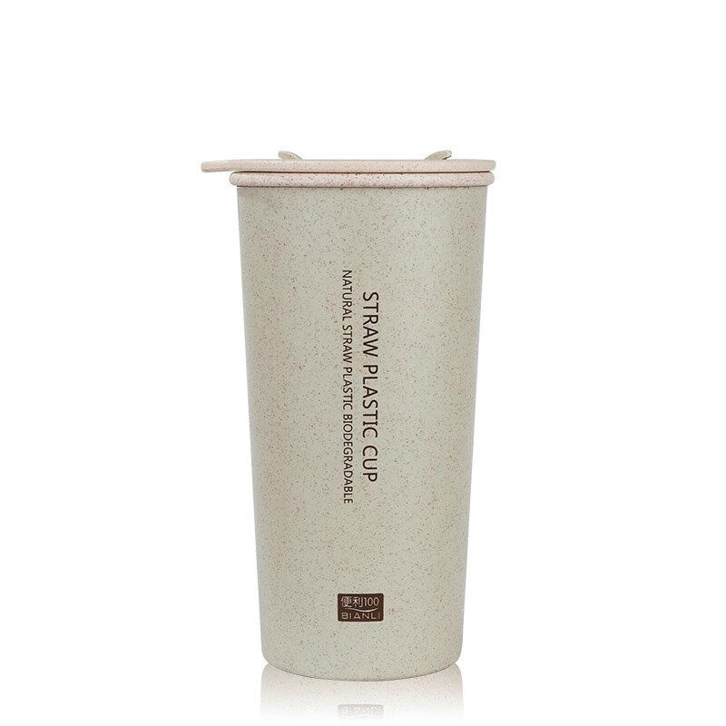 KCASA KC-WHE03 Wheat Fiber Double Layer Insulation Mug Student Cup Creative Water Bottle