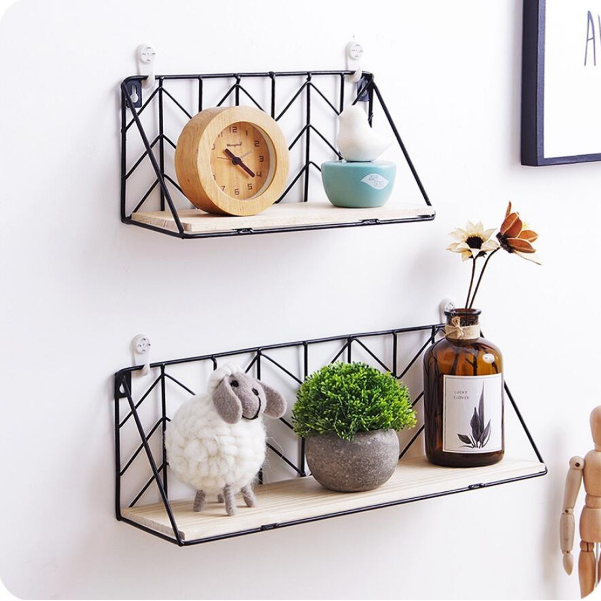 Iron_Metal_&_Wood_Wall_Floating_Shelves_Shelf_Bracket_Industrial_Modern_Storage_Hallway_Home_Decor