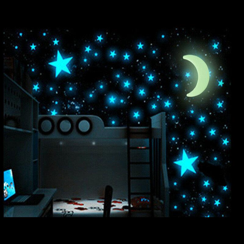 100ピースグローインザダークスターステッカー美しい3D DIYホームデカールアート発光ウォールステッカー