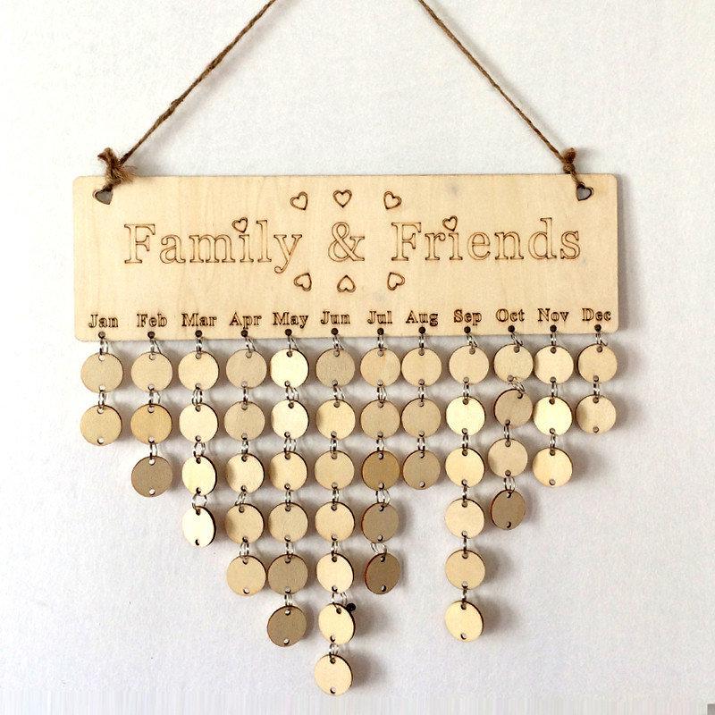 木製記念日カレンダーボードDIY家族の友達誕生日リマインダーカレンダーサイン特別な日