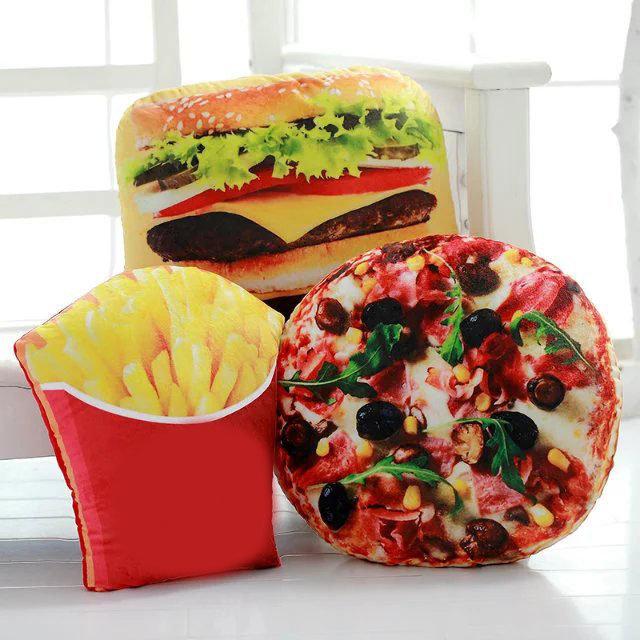 क्रिएटिव स्क्विशी 3 डी पिज्जा कोला आलू हैमबर्गर चिप्स तकिए भोजन तकिया जन्मदिन का उपहार ट्रिक खिलौने
