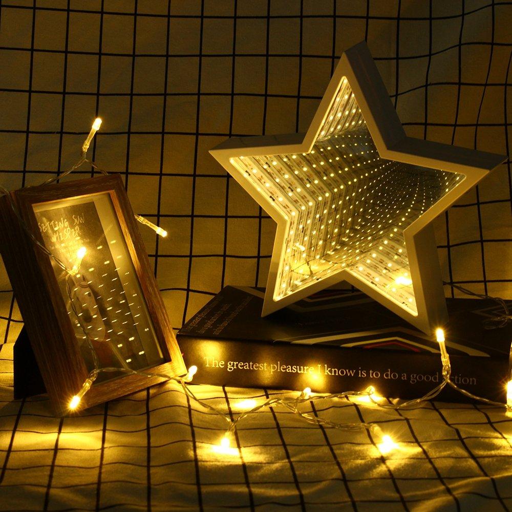 Creative Cute Star Mirror Lamp LED Tunnel Night Light for Kid Gift Atmosphere Light White/Warm White