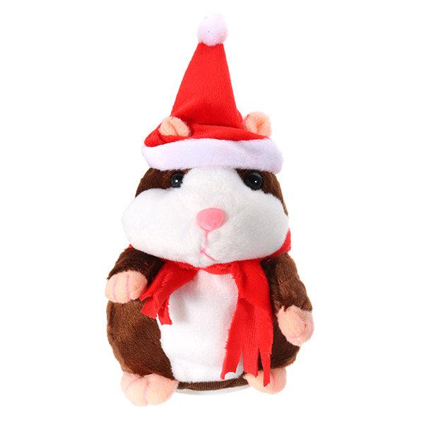 Lovely Talking Hamster Christmas Plush Toy Speak Talking Sound Record Hamster Talking Toys
