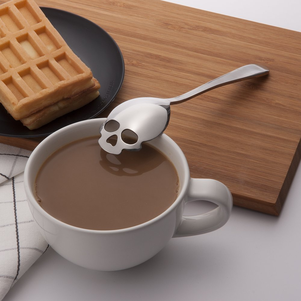 KCASA KC-FS05 Skull Shape غير القابل للصدأ الصلب الشاي القهوة السكر ملعقة التحريك ملعقة الطبخ 1 قطعة