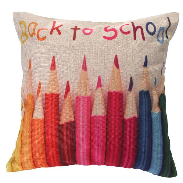 Colorful पेंसिल शब्द सूती लिनन फेंक तकिया सोफा कमर पीछे तकिया कवर