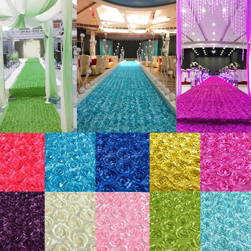 140*475CM 3D Rose Flower Satin Wedding Aisle Runner Carpet Curtain Backdrop Party Decoration